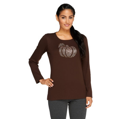 """As Is"" Quacker Factory Fall Diamond Bling Long Sleeve T-Shirt"