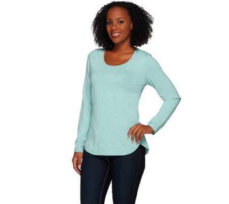 """As Is"" Denim & Co. Essentials Scoop Neck Long Sleeve Top with Curved Hem"
