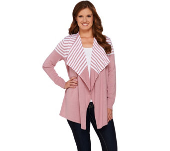 """As Is"" Denim & Co. Drape Front Long Sleeve Striped Cardigan - A282516"