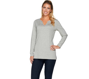 C. Wonder Essentials Pima Cotton Split V-Neck Tunic - A282716