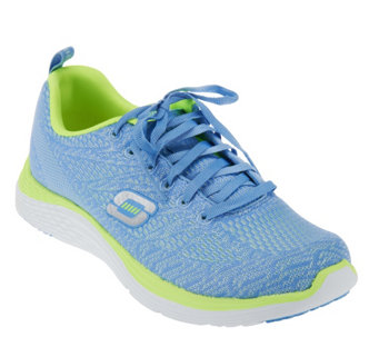 """As Is"" Skechers Stretch Knit Lace-up Sneaker - Chimera - A283516"
