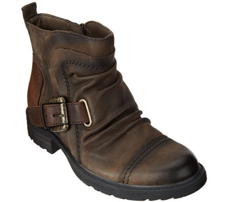 Earth Leather Ankle Boots w/ Buckle Detail - Jericho