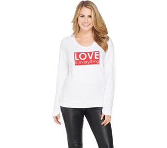 Peace Love World V-neck Comfy Knit Long Sleeve Top - A285616