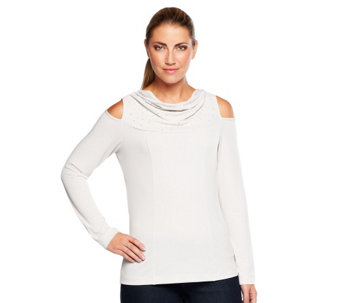 """As Is"" George Simonton Stud Accent Cowl Neck Knit Top w/Open Shoulder - A285916"