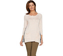 LOGO by Lori Goldstein Striped Slub Henley Top with Embroidery - A288016