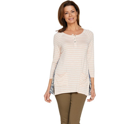 LOGO by Lori Goldstein Striped Slub Henley Top with Embroidery