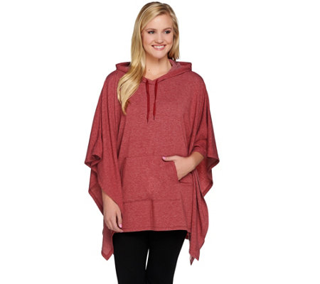 """As Is"" Cuddl Duds Comfortwear French Terry Poncho w/ Hood"