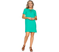 Susan Graver Weekend French Terry Dress with Lacing - A288516