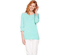 Susan Graver Weekend Striped Stretch Cotton Modal Top with Lacing - A289416