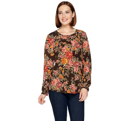 """As Is"" Denim & Co. Floral Printed Button Front Top"