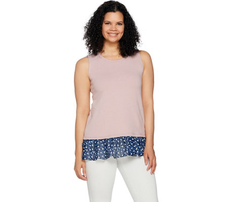 LOGO Lounge by Lori Goldstein Tank w/ Printed Chiffon and Crossover Back