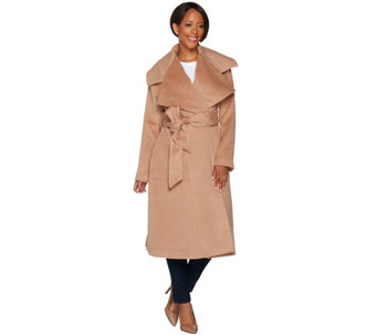 """As Is"" G.I.L.I Petite Notch Collar Belted Coat - A291316"