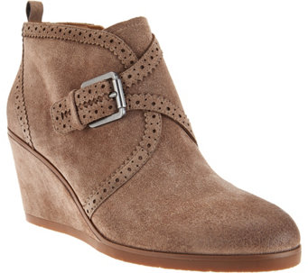 """As Is"" Franco Sarto Suede Monk Strap Wedge Boots - Arielle - A293216"