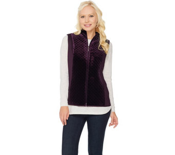 """As Is"" Susan Graver Quilted Velvet Zip Front Vest - A293716"