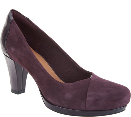 Clarks Artisan Leather Mid-Heel Pumps - Chorus Carol