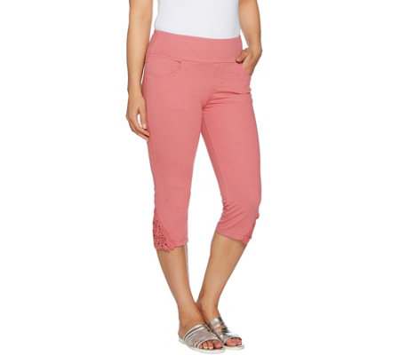 """As Is"" Denim & Co. Knit Denim Pull-On Capri Pants with Crochet Detail"