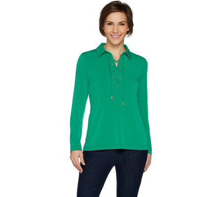 Susan Graver Liquid Knit Top with Lacing