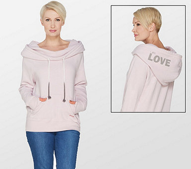 Peace Love World Cowl Neck Hoodie with Affirmation - A301116