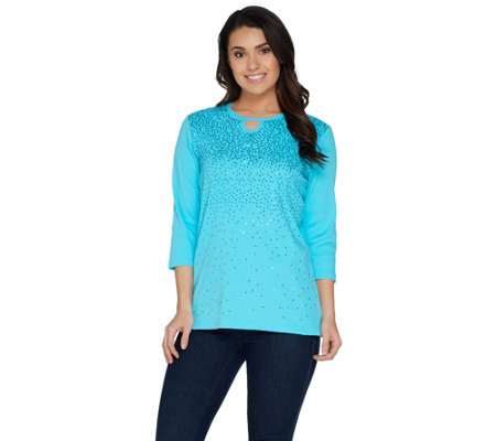 Quacker Factory Keyhole Neck Rib Knit T-shirt with Sequin Detail