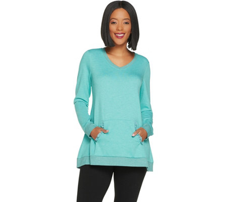 LOGO Lounge by Lori Goldstein French Terry Top w/ Kangaroo Pocket and Lace
