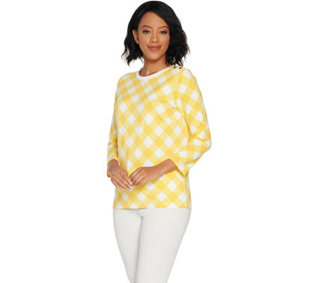Bob Mackie's Gingham_Check Pullover Knit Top