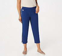 Quacker Factory DreamJeannes Ladder Hem Cropped Pants with Bling - A305616