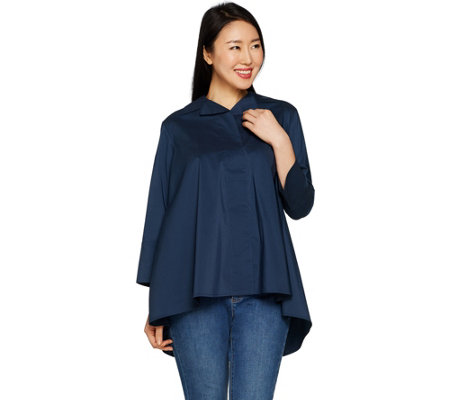 """As Is"" Martha Stewart Stretch Poplin 3/4 Sleeve Hi-Low Hem Blouse"