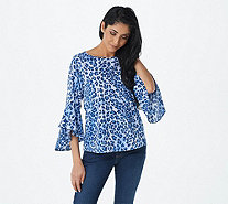 Belle by Kim Gravel Printed Stretch Flutter Sleeve Top - A307916