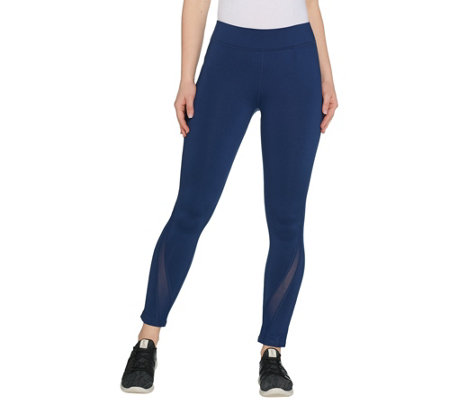 Susan Lucci Collection Petite Ankle Leggings with Mesh Detail