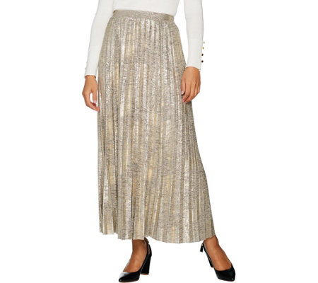 """As Is"" H by Halston Petite Foil Printed Pleated Maxi Skirt"