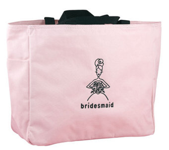 Bridesmaid Pink with Black Embroidery Tote - A315916