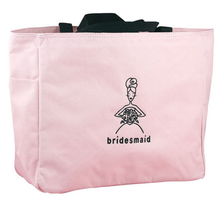 Bridesmaid Pink with Black Embroidery Tote