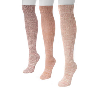 MUK LUKS Women's Three-Pair Pack Marl Knee-HighSocks - A355916
