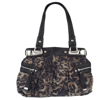 B. Makowsky Animal Print Fabric Tote Bag with Side Pockets