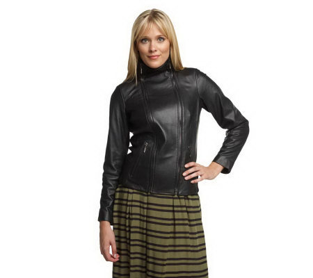 Luxe Rachel Zoe Lamb Leather Jacket with Knit Trim