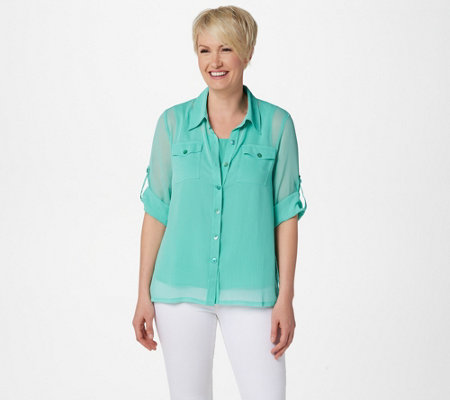 Linea by Louis Dell'Olio Crinkle Georgette Shirt w/ Shell