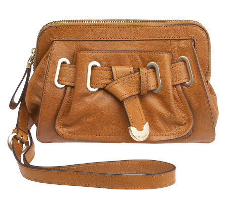 B. Makowsky Glazed Leather Zip Top Crossbody Bag w/Belted Accent