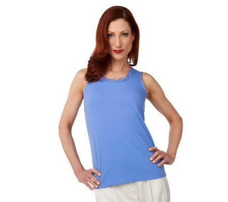 Isaac Mizrahi Live! Tank Top with Layered Chiffon Trim