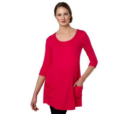LOGO by Lori Goldstein 3/4 Sleeve Knit Top with Ruched Pockets