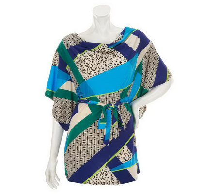 M by Marc Bouwer Cowl Neck Printed Tunic with Tie Belt
