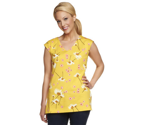 Isaac Mizrahi Live! Floral Printed V-Neck Knit Tunic