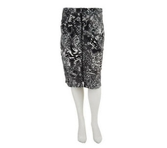 George Simonton Printed Ponte Knit Skirt w/ Zipper Detail - A235017