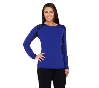 George Simonton Milky Knit Top with Animal Printed Side Panels - A237017