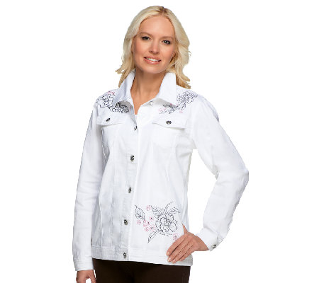 Quacker Factory Floral Embroidered Jeanne Jacket