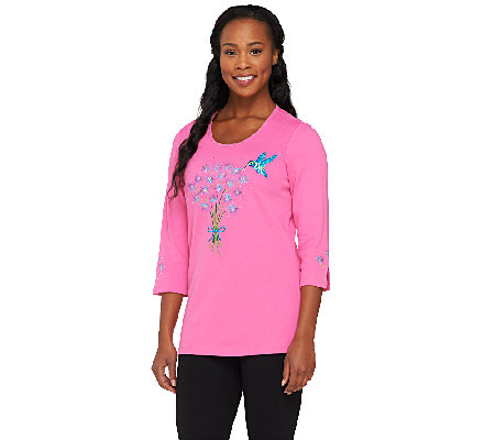 Quacker Factory Sweet Hummingbird 3/4 Sleeve T-shirt