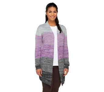 Attitudes by Renee Color Block Melange Sweater Knit Cardigan - A240717