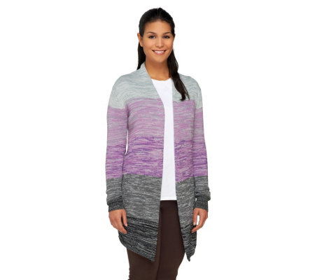 Attitudes by Renee Color Block Melange Sweater Knit Cardigan