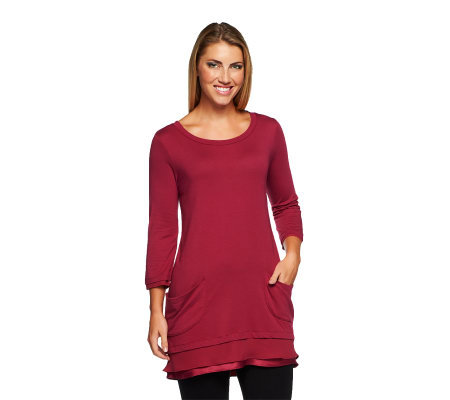 LOGO by Lori Goldstein 3/4 Sleeve Tee with Chiffon Hem