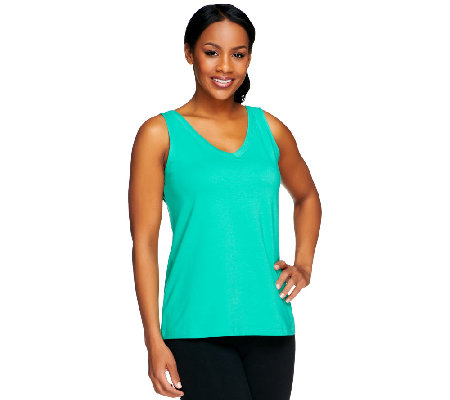 Susan Graver Weekend Stretch Cotton V-Neck Tank Top