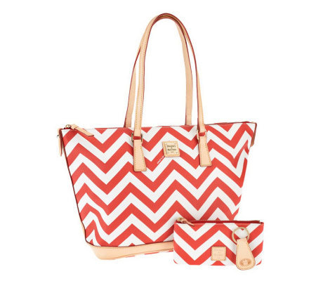 Dooney & Bourke Coated Cotton Chevron Tote w/ Accessories
